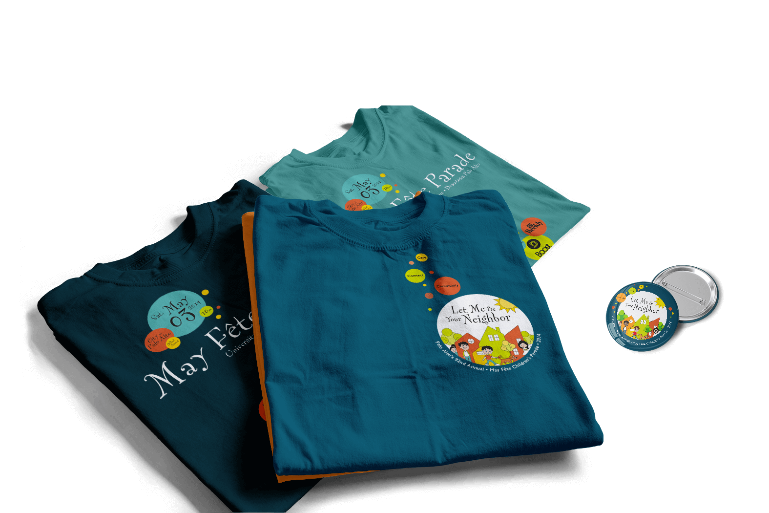 may fete t-shirts and button